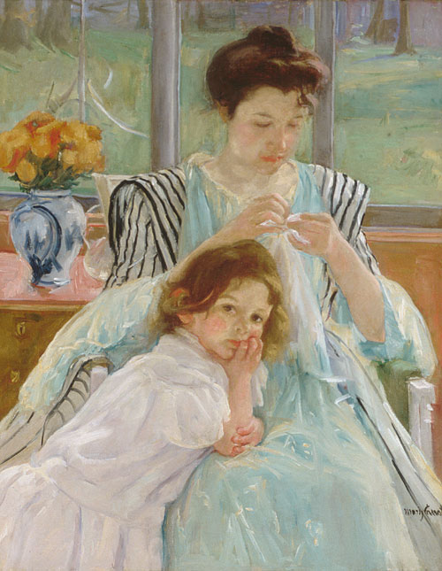 Young Mother Sewing Color